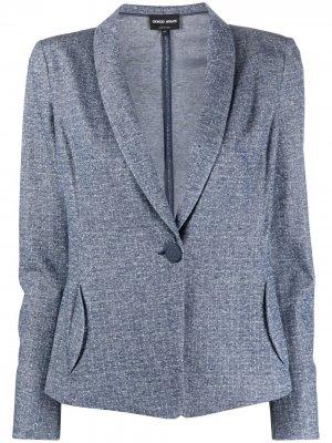 Однобортный приталенный пиджак Giorgio Armani. Цвет: синий