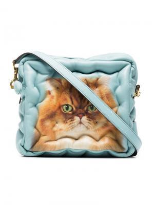 Квадратная стеганая сумка с кошкой Anya Hindmarch. Цвет: синий