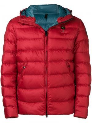 Пуховая куртка с бляшкой логотипом Blauer. Цвет: красный