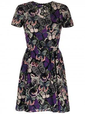 Платье с вышивкой Valentino Pre-Owned. Цвет: фиолетовый