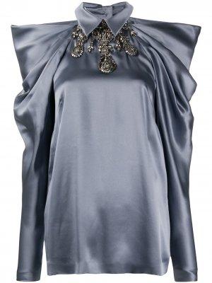 Рубашка с декорированным воротником Alberta Ferretti. Цвет: серый