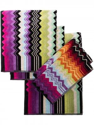 Набор из пяти полотенец Giacomo Missoni Home. Цвет: черный