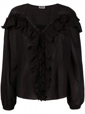 Блузка с оборками LIU JO. Цвет: черный