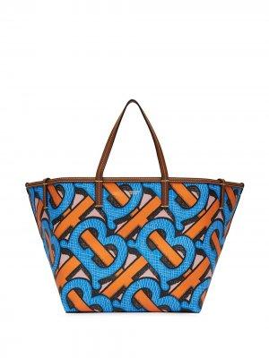 Пляжная сумка-тоут размера мини с монограммой Burberry. Цвет: синий