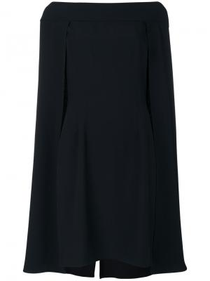 Многослойное платье-кейп Alberta Ferretti. Цвет: черный