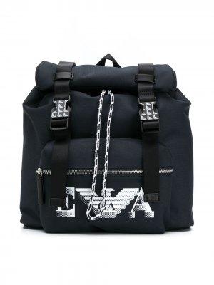 Рюкзак с пряжками и логотипом Emporio Armani Kids. Цвет: синий