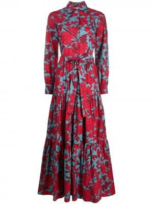 Платье-рубашка Bellini с завязками и цветочным принтом La Doublej. Цвет: красный