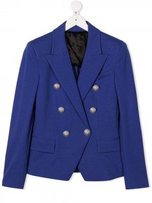 Двубортный пиджак Balmain Kids. Цвет: синий