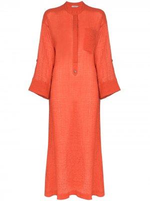 Полупрозрачное платье-кафтан August Three Graces. Цвет: красный