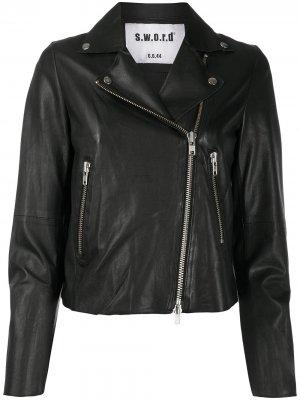 Укороченная байкерская куртка S.W.O.R.D 6.6.44. Цвет: черный