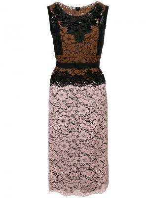 Платье с контрастными кружевными вставками Antonio Marras. Цвет: разноцветный