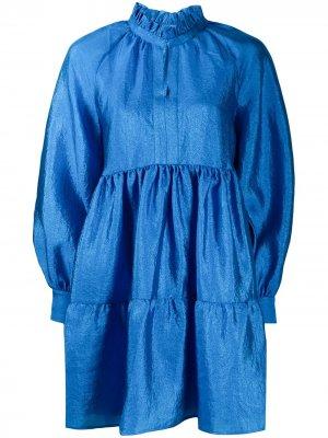 Ярусное платье мини Stine Goya. Цвет: синий