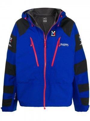 Куртка с капюшоном и полосками на рукавах Phipps. Цвет: синий