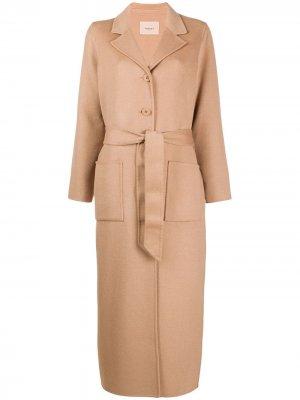 Длинное однобортное пальто Twin-Set. Цвет: коричневый