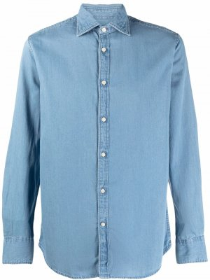 Джинсовая рубашка Nelson с длинными рукавами Deperlu. Цвет: синий