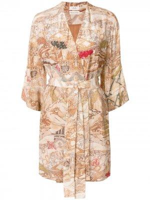Короткий халат Uros с вышивкой Chufy. Цвет: оранжевый