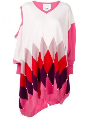Асимметричный свитер с узором в ромб аргайл Ballantyne. Цвет: розовый
