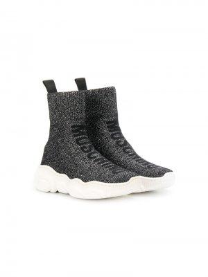 Высокие кроссовки-носки с люрексом Moschino Kids. Цвет: черный