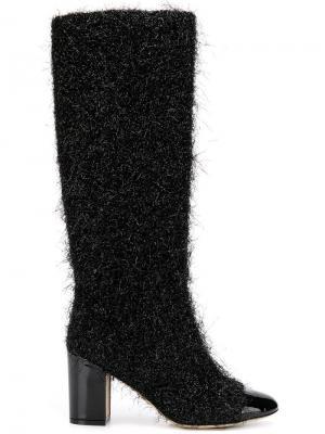 Фактурные сапоги с лакированным носком Rodo. Цвет: черный