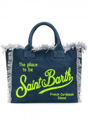 Пляжная сумка с логотипом и бахромой Mc2 Saint Barth. Цвет: синий