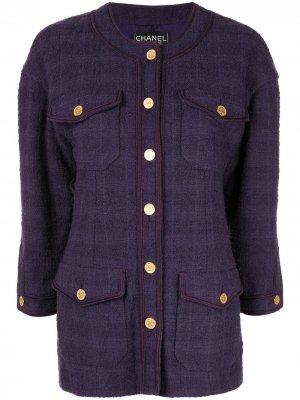 Куртка с длинными рукавами Chanel Pre-Owned. Цвет: фиолетовый