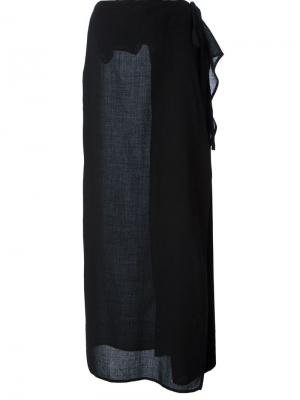 Длинная юбка с контрастной панелью Gianfranco Ferré Pre-Owned. Цвет: черный