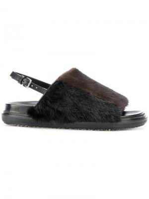 Меховые сандалии Fussbett Marni. Цвет: коричневый