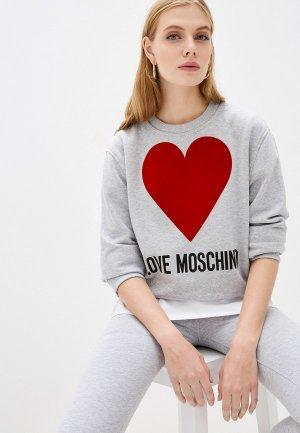 Свитшот Love Moschino. Цвет: серый