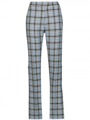Клетчатые брюки Irene с разрезами Brøgger. Цвет: синий