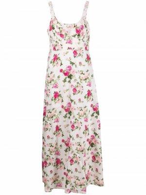 Платье без рукавов с цветочным принтом LoveShackFancy. Цвет: белый