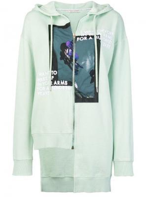 Printed uneven design hoodie Each X Other. Цвет: зеленый