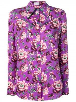 Блузка с цветочным принтом Magda Butrym. Цвет: фиолетовый