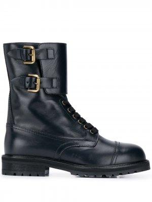 Ботинки в стиле милитари на шнуровке Semicouture. Цвет: синий