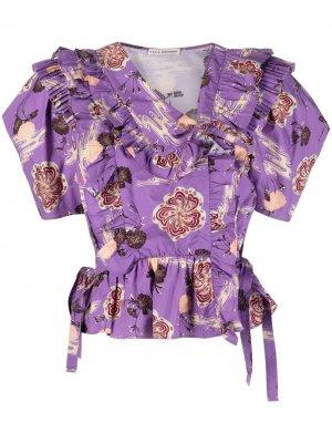 Блузка Amata с оборками и цветочным принтом Ulla Johnson. Цвет: фиолетовый