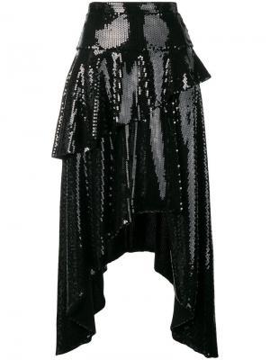 Юбка асимметричного кроя с отделкой пайетками Marco Bologna. Цвет: черный