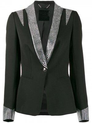 Пиджак-смокинг с кристаллами Philipp Plein. Цвет: черный