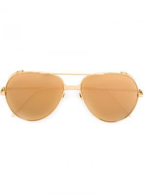 Солнцезащитные очки 426 Linda Farrow. Цвет: золотистый
