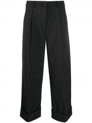 Укороченные широкие брюки с завышенной талией Semicouture. Цвет: серый