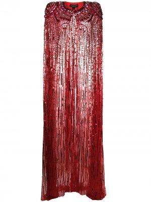 Длинный кейп с пайетками Jenny Packham. Цвет: красный