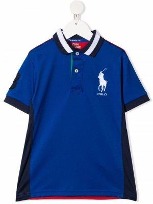 Рубашка поло в стиле колор-блок с логотипом Polo Ralph Lauren Kids. Цвет: синий