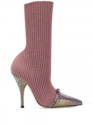 Ботильоны-носки на шпильке Marco De Vincenzo. Цвет: розовый