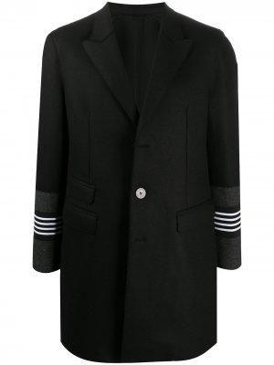 Однобортное пальто со вставками в полоску Neil Barrett. Цвет: черный