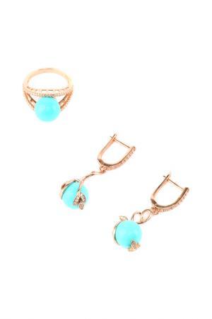 Комплект: серьги, кольцо Be You to Full. Цвет: голубой