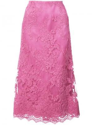 Кружевная юбка миди Marchesa. Цвет: розовый