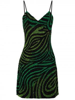 Платье-комбинация длины мини с пайетками Ashish. Цвет: черный