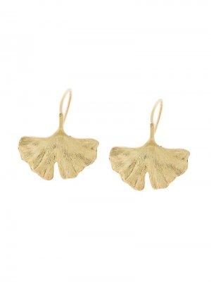 Золотые серьги Ginkgo Aurelie Bidermann. Цвет: золотистый