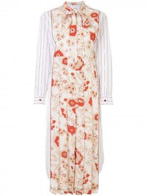 Платье-рубашка Oriental с цветочным принтом Ports 1961. Цвет: белый