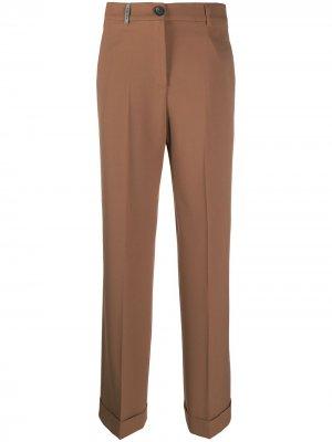Прямые брюки Peserico. Цвет: коричневый