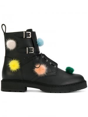 Ботинки с помпонами Fendi. Цвет: чёрный