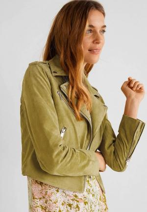 Куртка кожаная Mango. Цвет: зеленый